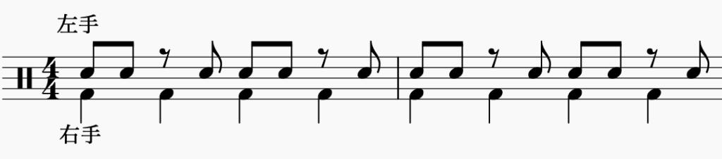 ドラム左右の独立、右手で4分音符・左手でパターン4