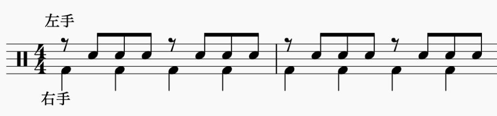 ドラム左右の独立、右手で4分音符・左手でパターン5