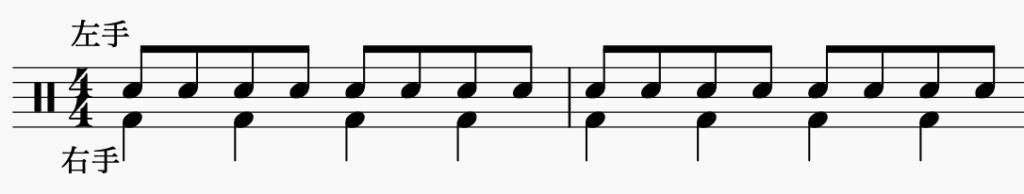 ドラム左右の独立、右手で4分音符・左手で8分音符