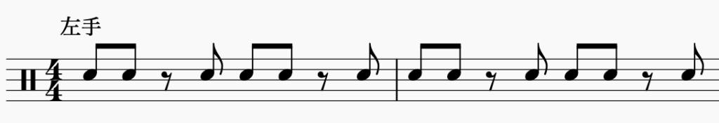 ドラム左右の独立、左手でパターン4