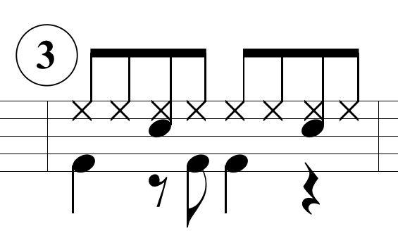 ベースドラムのパターン3