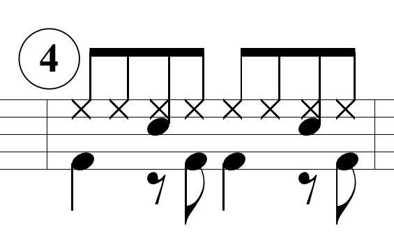 ベースドラムのパターン4