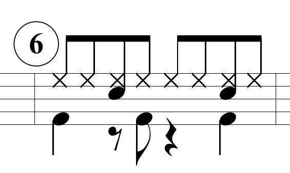 ベースドラムのパターン6