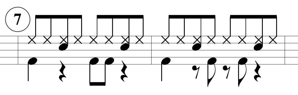 ベースドラムのパターン7