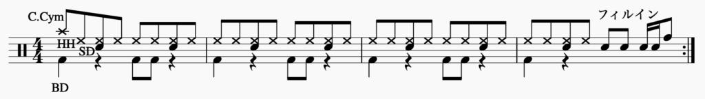エイトビートのフィルインの後にクラッシュシンバルを入れる楽譜