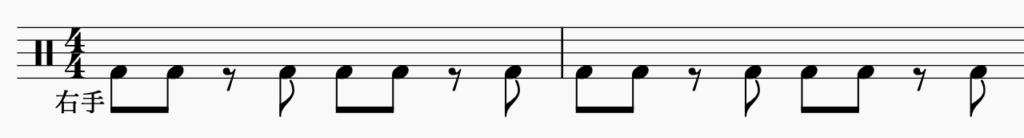 ドラム左右の独立、右手でパターン4