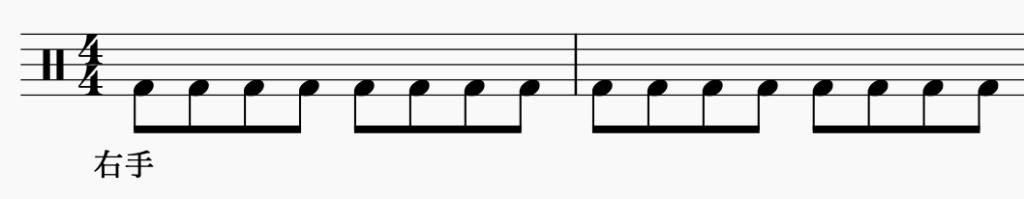 ドラム左右の独立、右手で8分音符