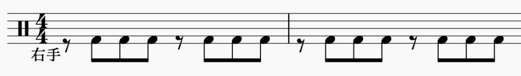ドラム左右の独立、右手でパターン5
