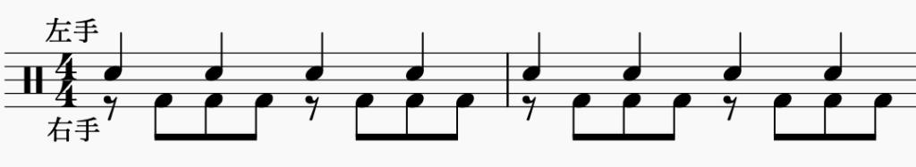 ドラム左右の独立、左手で4分音符・右手でパターン5