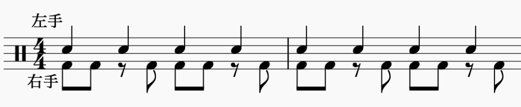 ドラム左右の独立、左手で4分音符・右手でパターン4