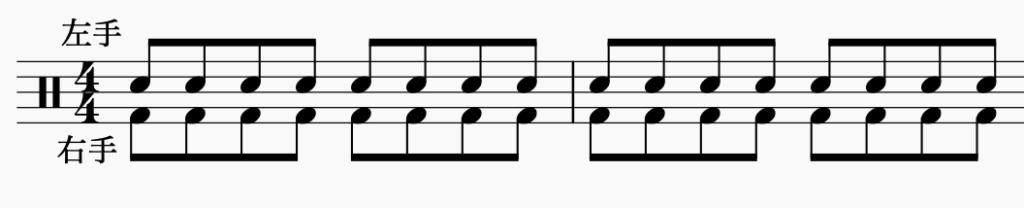 ドラム左右の独立、左手で8分音符・右手で8分音符