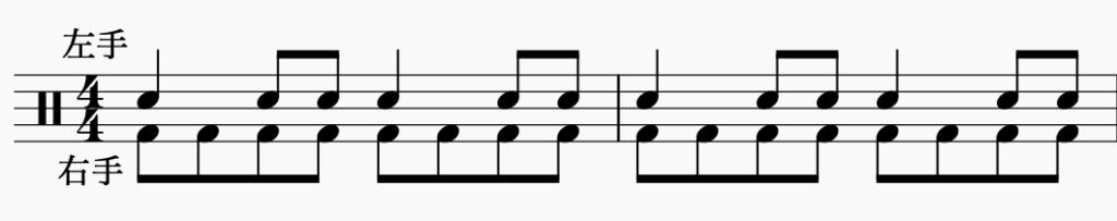 ドラム左右の独立、右手で8分音符・左手でパターン3
