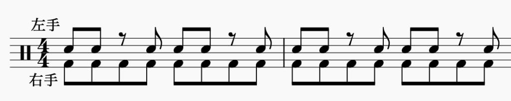 ドラム左右の独立、右手で8分音符・左手でパターン4