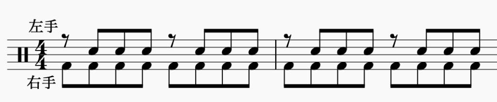 ドラム左右の独立、右手で8分音符・左手でパターン5