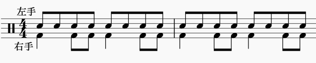 ドラム左右の独立、左手で8分音符・右手でパターン3