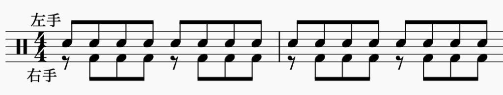 ドラム左右の独立、左手で8分音符・右手でパターン5